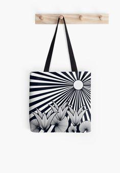 'The Sunset Flowers' All Over Print Tote Bag, print design by Asmo Turunen. #design #totebag #shoppingbag #atcreativevisuals #kestokassi