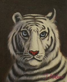Oil Painting on Stretched Canvas 8x10- White Tiger Oil on canvas. Unique. 8 x 10. Already stretched. Ready to hang or frame.  #Home