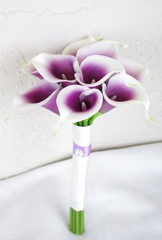 Silk Flower Wedding Bouquet Purple Heart Calla Lilies. Simple and sophisicated.