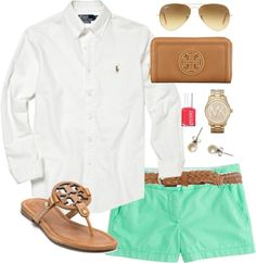 Mint by classically-preppy featuring flat shoes ❤ liked on PolyvorePolo Ralph Lauren top / J.Crew j. crew shorts / Tory Burch flat shoes / Tory Burch wallet / Michael Kors watch / J.Crew stud earrings / Ray-Ban sunglasses / Dorothy Perkins skinny belt / Essie nail polish