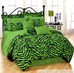 full size bedding for girls | Green Zebra Full Size 8 Piece Bed in a Bag - Animal Print Bedding from ...