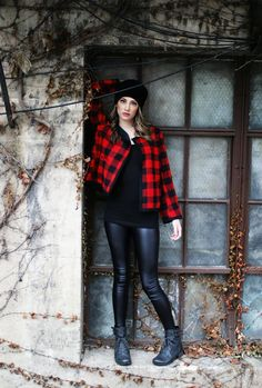 Our model is wearing our Charlotte jacket and the Katie vegan leggings.