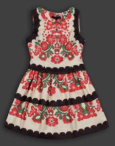 Russian Folk Printed Wool Dress
