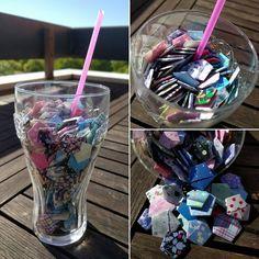 Vous prendrez bien un petit cocktail!? Juste avant la transformation en étoile ! #handmade #faitmain #origami #stars #etoiles #cocktail #venteprivee