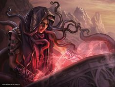 "weekly-mtg-posts: "" Art of Magali Villeneuve  Pore Over the Pages Narset Transcendant Stromkirk Occultist Dhund Operative Identity Thief Swell of Growth Visit the Archives for more themed posts. """