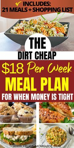 Cheap Healthy Meal Plan, Cheap Meals For Two, Dirt Cheap Meals, Cheap Meal Plans, Cheap Family Meals, Healthy Recipes On A Budget, Cheap Dinners, Meals For The Week, Inexpensive Meals