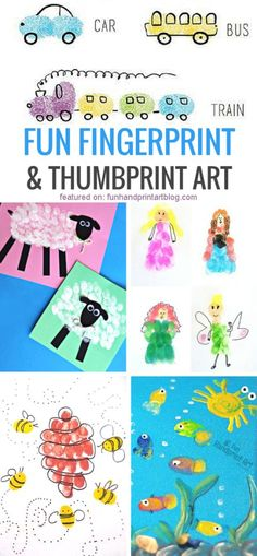 20 Fun Fingerprint and Thumbprint Art Ideas - Fun Handprint Art Fingerprint Crafts, Footprint Crafts, Thumbprint Crafts, Projects For Kids, Diy For Kids, Crafts For Kids, Project Ideas, Thumb Prints, Hand Prints