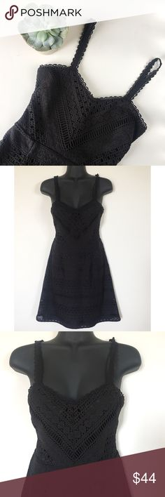 Guess Black Jordan Crochet Fit & Flare Mini Dress * Spaghetti Strap * Beautiful Crochet * Lined * Fit & Flare Mini Dress * Style # GDFMP223  Size: 0 Color: Black Condition: Like New Condition Material: 100% Polyester  Measurements Bust: 30 inches Waist: 26 inches Length: 28.5 inches All measurements are approximate.  No stains, rips, tears   Pet/Smoke free home. Offers welcomed ✨ Guess Dresses Mini