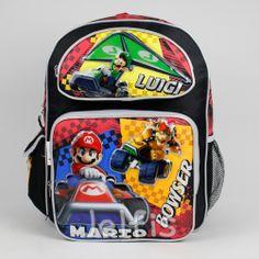 fb08ed261b Super Mario Bros 16  Backpack - 3 Racers Large Boys School Book Bag Luigi  Bowser