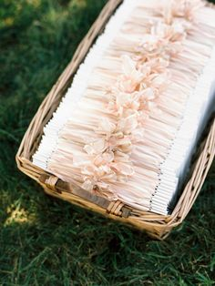 Wedding Programs with Blush Pink Ribbon | See the wedding on SMP: http://www.StyleMePretty.com/2014/02/26/elegant-del-mar-garden-wedding/ Photography: Ashley Kelemen