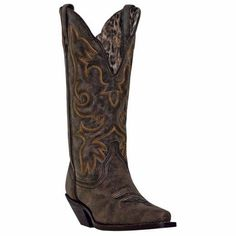 Laredo Ladies Access Black/Tan Goat Wide Calf Western Boot 51079