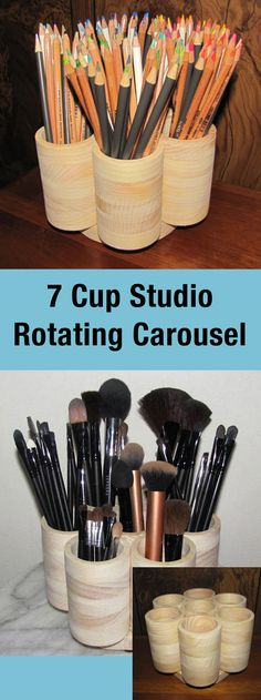 7 cup rotating storage carousal. Color Pencils, Makeup brushes, Paint Brushes.   #ad