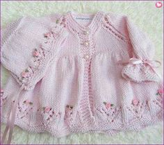 Hand Knit Cotton Baby Set by jayceeoriginals on EtsyLace baby jacket (knit with crLace cardi & matching hat with ribbon embroidered roses ~~ jaycee originalsThis Pin was discovered by AylDiscover thousands of images about Hirka Baby Knitting Patterns, Knitting Designs, Baby Patterns, Hand Knitting, Knitted Baby Cardigan, Knitted Baby Clothes, Baby Set, Crochet For Kids, Knit Crochet