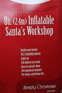 8' Tall Gemmy Animated Inflatable Santa's Workshop RARE No Reserve Auction | eBay