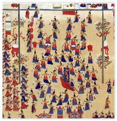 [국립고궁박물관] 정조의 화성행차 그림(병풍) = 화성행행도華城行幸圖 1795년 -- <(3)봉수당진찬도(奉壽堂進饌圖) : 혜경궁의 만수무강을 기리는 잔치 {기록문화실} : 네이버 블로그 Korean Traditional Dress, Traditional Dresses, Dragon, Quilts, Blanket, Rugs, Drawings, Street, Home Decor
