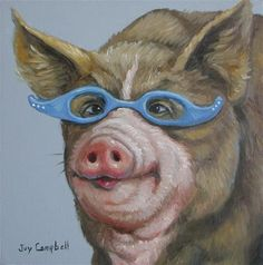 """""""The Librarian"""" - Original Fine Art for Sale - © Joy Campbell This Little Piggy, Little Pigs, Farm Animals, Animals And Pets, Pig Drawing, Funny Pigs, Pig Art, Cute Creatures, Chickens Backyard"""