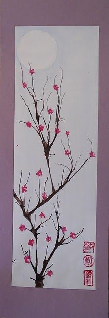 """My Grade 7 class recently finished these cherry blossom paintings as part of our """"Japanese Art"""" unit. I absolutely adore cherry blo. Cherry Blossom Painting, Blossom Trees, Cherry Blossoms, Ecole Art, Spring Art, Art Classroom, Art Plastique, Elementary Art, Teaching Art"""