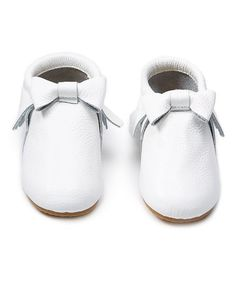 Look what I found on #zulily! White Bow-Accent Anti-Skid Suede Moccasin #zulilyfinds