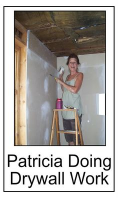 Your hostess/editor at work - and yes, there is an 'art' to drywalling. I believe I am actually in the area that would later be the bedroom, the ceiling is exposed to show the existing, old but workable insulation. Kudos to carpenters, peeps who do drywall, etc. #drywall_#budget_building, #drywall_DIY, #horse_ranch_photos