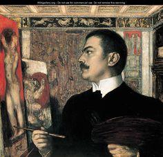 Franz von Stuck - self-portrait with easel