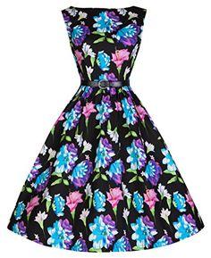 f4f7607ad6da Lindy Bop 'Audrey' Vintage 50's Style Tropical Floral Print Swing Dress  (5XL,