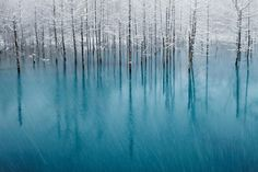 The Blue pond in Japan