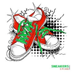 Shoes Clipart, Impression Sur Tee Shirt, Skateboard Fashion, Boys Clothes Style, Urban Fashion, Green Colors, Boy Outfits, Sneakers, How To Draw Hands