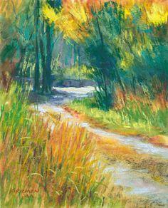 """""""Park Trail No. - Original Fine Art for Sale - © Rita Kirkman Pastel Small Paintings, Landscape Paintings, Landscapes, Pastel Paintings, Canvas Paintings, Pastel Watercolor, Pastel Art, Park Trails, Chalk Pastels"""