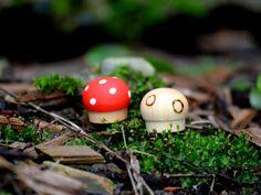 Teensy Tiny toadstools Set of 5 Wooden by HinterlandMama on Etsy