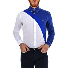 Two-tone shirt - White/Blue - Harmont & Blaine Online Store