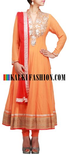 Buy Online from the link below. We ship worldwide (Free Shipping over US$100) http://www.kalkifashion.com/orange-anarkali-suit-with-neckline-embroidered-in-gotta-patti-lace-only-on-kalki.html Orange anarkali suit with neckline embroidered in gotta patti lace only on Kalki