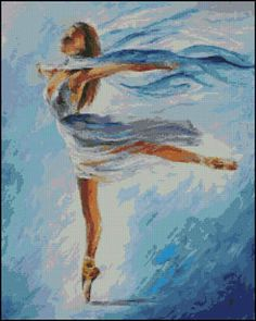 Paula's Patterns Sky Dancer, The - Cross Stitch Pattern. Model stitched on 18ct White Aida using DMC floss. Stitch count 196x246.