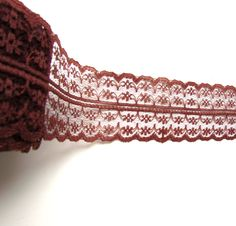"2.5 yds Brown lace ribbon 1 3/4"" - Chocolate brown lace trim - Brown shabby lace ribbon - Dark brown lace ribbon - Burlap lace trim. by BrightonBabe on Etsy"