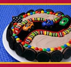 Race Car Themed Birthday Cake Cake Stand Race car cake (need to adapt this for a birthday cake, but I think it's doable. Race Car Birthday, Themed Birthday Cakes, Boy Birthday, Birthday Ideas, Boys Birthday Cakes Easy, Birthday Parties, Car Cakes For Boys, Race Car Cakes, Racing Cake