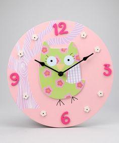 Look what I found on #zulily! Pink Owl Clock #zulilyfinds