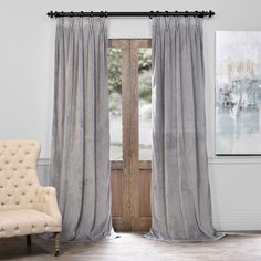 EFF Velvet Blackout Window Curtain ($112) ❤ liked on Polyvore featuring home, home decor, window treatments, curtains, grey, rod pocket curtains, velvet blackout curtains, black out curtains, velvet curtains and window panels