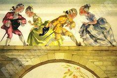 Sur le pont d'Avignon - illustration de Jean Adrien Mercier Book Illustration, Illustrations, Mercier, Crayons, Vintage Images, Kitchen, Poster, Painting, Paint Brushes