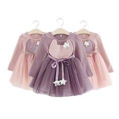 Nova moda primavera outono do bebê meninas dos desenhos animados vestido sweet coelho estrela com cinto vestidos de fios de roupas para meninas roupa dos miúdos