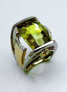 Gold and diamond ring with Lime Citrine by Brad Weber