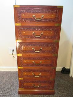 """Middle Eastern Rosewood Dresser $550.00  This is a one of a kind piece, this handcrafted dresser not only shows true craftsmanship but it shows true woodworking skill. In its detailed floral pattern on each of the six drawers, this piece really speaks for its self. 42"""" H x 18"""" W x 17 7/8"""" L https://squareup.com/market/our-sister-company/middle-eastern-rosewood-dresser"""