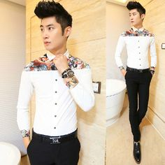 Find More Casual Shirts Information about Man 2014 Long Sleeve Perfect Print Patchwork Fancy Shirt Men Male Party Club Shirt Wholesale,High Quality Casual Shirts from HOTI STYLE on Aliexpress.com