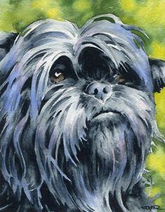 AFFENPINSCHER Dog Watercolor Signed Fine Art Print by Artist DJ Rogers