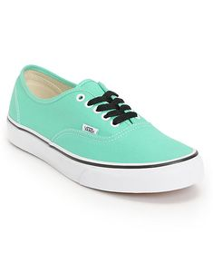 The Vans Authentic shoes in Mint Green and True White are part of the Vans Classics collection and it is clear to see why. These lightweight shoes have an all Mint Green upper with a white sole for a classic Vans look. This is a timeless skate shoe from V