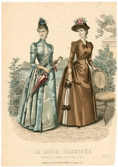 1888 La Mode Illustree. An example of how the fitted sleeves of the 1880s started to show small signs of expanding and getting more complex already in 1888, foreshadowing the 1890s.