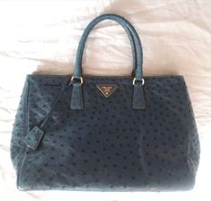 $6K PRADA COBALT BLUE OSTRICH STRUZZO EXECUTIVE TOTE / BAG on www.fullcirclefashion.com #PRADA #Tote