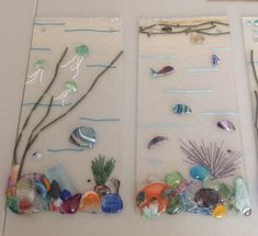 Underwater Fish Jellyfish Coral Seascape 2 - Fused glass - KM Glass Creations