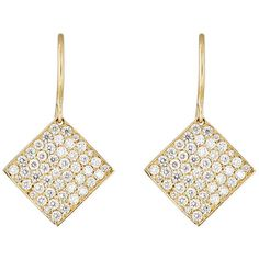 Irene Neuwirth Diamond Collection Women's Pave Diamond Square-Drop Ear (9,470 CAD) ❤ liked on Polyvore featuring jewelry, earrings, joias, colorless, pave jewelry, 18 karat gold jewelry, sparkle jewelry, pave diamond jewelry and clear crystal drop earrings