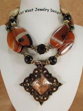Chunky Brown Banded Agate Copper Concho Pendant
