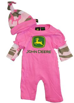 John Deere baby clothes for girls - pink camo