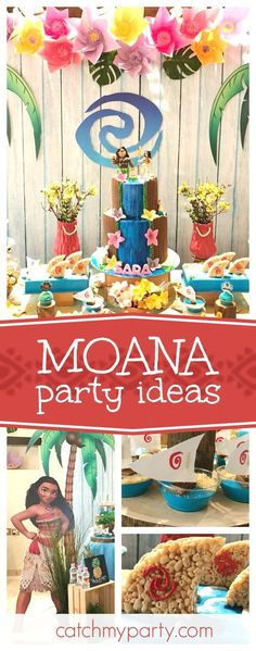 Take a look at this tropical Moana birthday party. The waterfall birthday cake is incredible!! See more party ideas and share yours at CatchMyParty.com